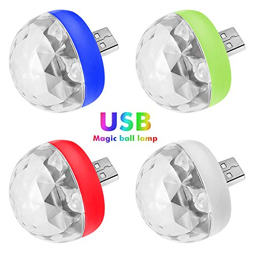yutang Mini Portable USB Stage Disco Lights Magic Ball Light for Family Party Club Work with Mobile Phone[Or Adapter]