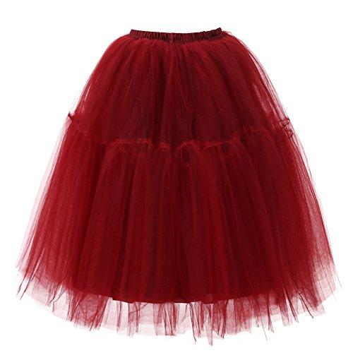 ESAILQ Womens Haute qualit Plisse Gaze Jupe Drape Adulte Tutu Jupe de Danse Vin Rouge
