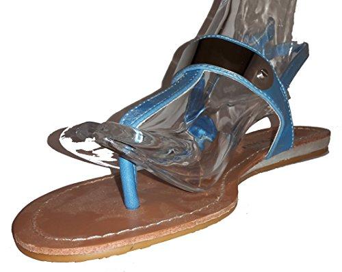 Chanclas para mujer, flip flop, sandalias para mujer, beige, marrón, blanco, azul, rojo, negro-oro, rosa-rojo y color del leopardo, modello 11064105006001, diferentes modelos y tamaños. Azul.