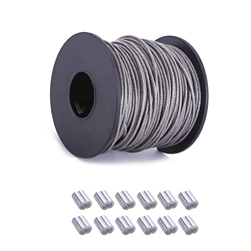(NITOO Stainless Steel 304 Wire Rope,7x7 Strand Core,for Hanging String Light,Picture Frames, Artwork , Wire Rope Outer diameter is 1/16 inches,100FT Length Cable,120 lbs Breaking Strength)