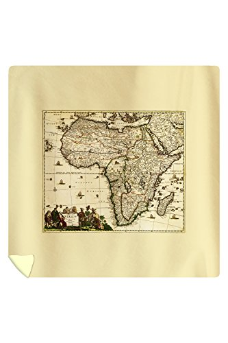 Africa - (1688) - Panoramic Map (88x88 Queen Microfiber Duvet Cover) by Lantern Press