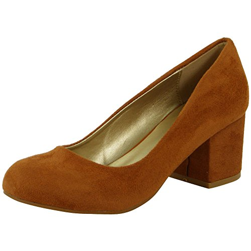 New Womens Ladies Plain Office Work Comfy Low Mid Chunky Heel Court Shoes Size 3-8 Tan Suede