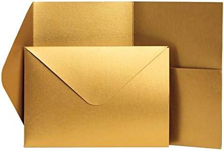 185 x 130 mm gold Antik-Gold Pocketfold Invites Ltd Einladungskarten Perlglanz
