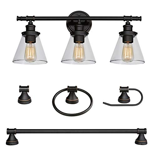 Globe Electric 50192 Parker 5-Piece All-in-One Bathroom Set, Oil Rubbed Bronze, 3-Light Vanity Light with Clear Glass Shades, Towel Bar, Towel Ring, Robe Hook, Toilet Paper Holder (Bedroom Vanity Under $100 Sets)