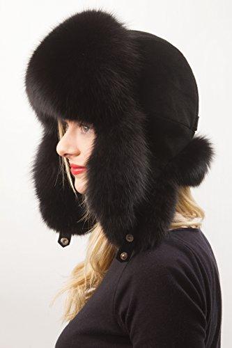 (Blue Fox Fur Ushanka Hat Black Color With Suede Saga Furs Women's)