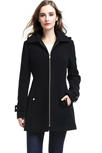BGSD Women's Lina Wool Blend Hooded Parka Coat – S Black