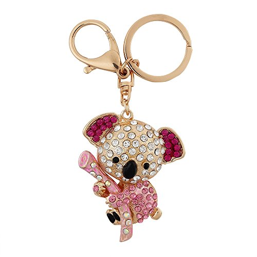 Individual Diamond Rack (USATDD Lovely Koala Bear Animal Diamond Crystal Rhinestone Gold Crystal Keychain Charm Pendent Beautiful Accessories the Best Gift for Girl Women Purse Handbag Bag Keyrings With Gift)