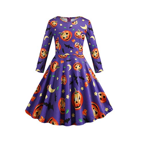 Mayunn Kids Baby Girls Halloween Long Sleeve Printed Vintage Princess Gown Prom Swing Dress Outfits Sets Clothes(3Years-12Years) (Strappy Prom Gowns)