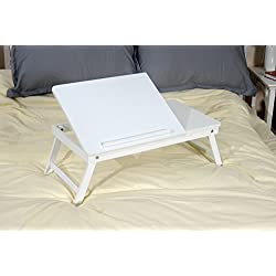 White Wooden Lap Desk, Flip Top with Drawer, Foldable Legs for Laptop