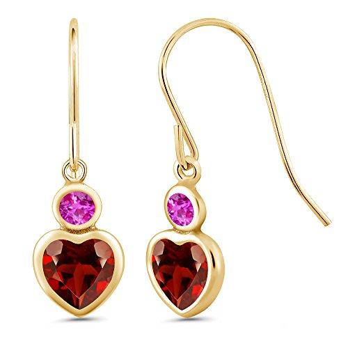Gem Stone King 1.36 Ct Heart Shape Red Garnet Pink Sapphire 14K Yellow Gold Earrings