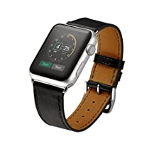 Kartice for Apple Watch Band Luxury Genuine Leather Watch Band Strap Bracelet Replacement Wrist Band With Adapter Clasp for iWahtch Apple Watch & Sport & Edition--Single tour black 42mm