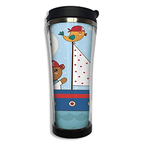 - Customizable Travel Photo Mug with Lid - 8.45 OZ(250 ml)Stainless Steel Travel Tumbler, Makes a Great Gift by,Ahoy Its a Boy,Cute Baby Shower Theme Its a Boy in Nautical Style Bear and Bird in Boat,M