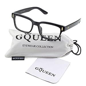 GQUEEN 201584 Modern Fashion Rectangular Bold Thick Frame Clear Lens Eye Glasses,Shiny Black