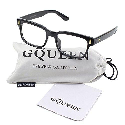 GQUEEN 201584 Modern Fashion Rectangular Bold Thick Frame Clear Lens Eye Glasses,Shiny Black (Klare Gläser Frames Amazon)