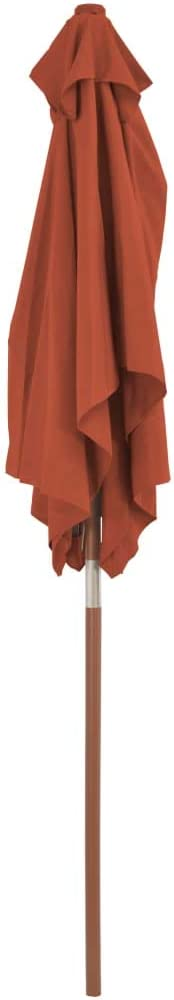 vidaXL Ombrellone Esterno con Palo in Legno Terracotta Parasole Tenda Giardino