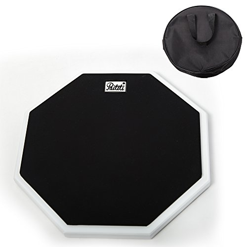 PAITITI 10 Inch Silent Portable Practice Drum Pad Octagonal Shape with Carrying Bag Black - Octagonal Shapes