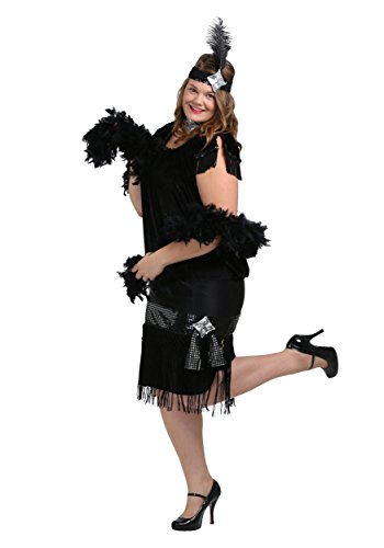 Alice Costumes Sequined (Deluxe Black Plus Size Flapper)