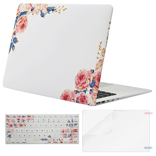 Mosiso Plastic Pattern Hard Case with Keyboard Cover with Screen Protector for MacBook Air 13 Inch (Model: A1369 and A1466), Pink Peony on White Base (Case Mac)