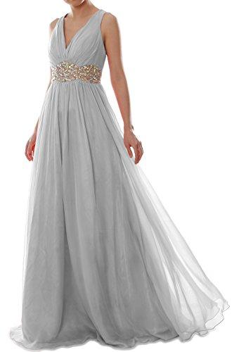 MACloth Women Straps V Neck Chiffon Long Prom Dress Wedding Formal Ball Gown Plateado