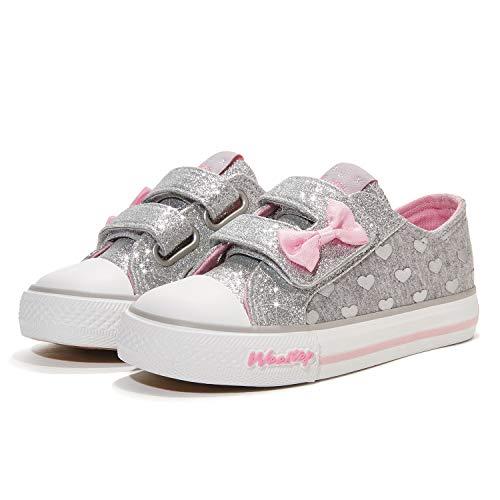Weestep Toddler/Little Kid Girls Glitter Bow Low Top Hook Loop Sneaker
