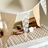 3M Lace Hessian Bunting Christmas Natural Burlap Jute Pennant Banner Baby Shower Rustic Wedding Party Decorations