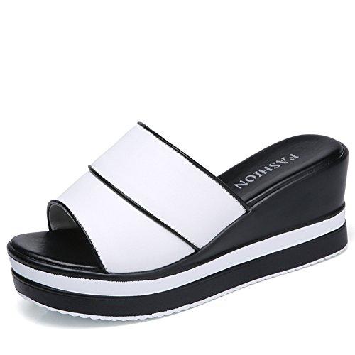 Btrada Dames Outdoor Platform Slides Zomer Antislip Casual Walking Wedge Open Teen Sandalen Wit