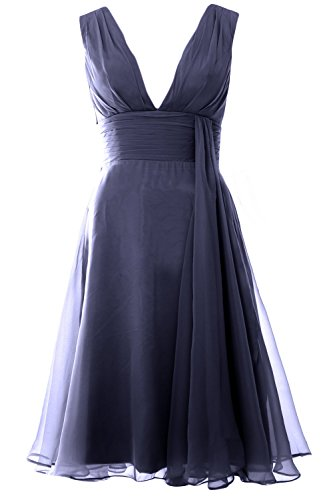 MACloth Women Deep V Neck Cockltail Dress Simple Short Wedding Party Formal Gown Azul Marino Oscuro