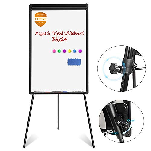 - White Board Easel, Magnetic Dry Erase Board 36 x 24 inches Flipchart Easel Whiteboard, Height Adjustable Tripod Whiteboard with 1 Eraser, 3 Markers, 6 Magnets, Black