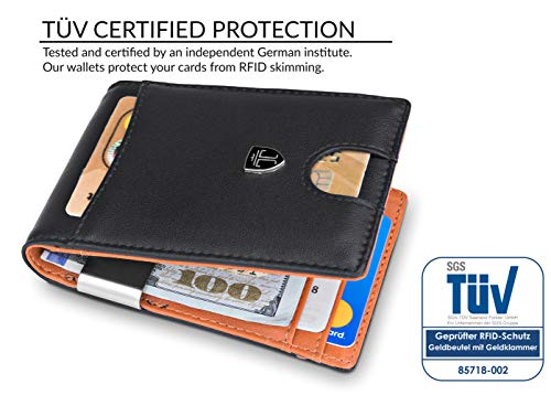 Money Clip Wallet HOUSTON Mens Wallet RFID Blocking Wallet - Minimalist Mini Slim Wallets Bifold for Men with Gift 5