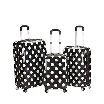 Image of Luggage Rockland Luggage 3 Piece Laguna Beach Upright Luggage Set, Black Dot, Medium