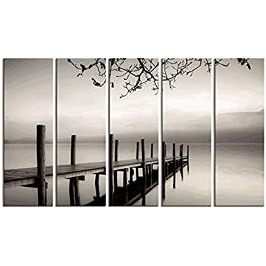 Wieco Art Peaceful Lake Canvas Prints Wall Art Black and White Pictures Paintings for Living Room Bedroom Home Office Decorations Large Modern 5 Piece Stretched and Framed Landscape Giclee Artwork