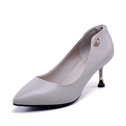 Jqdyl Meter Corazones de Consejo Puntos durazno Zapatos Zapato de Tacones Elegancia mujer gray Tacones 7Brq87zwW