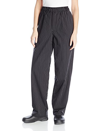 Pants Pin - Uncommon Threads Unisex Yarn Dyed Baggy Chef Pant, Black/White Pinstripe, Medium