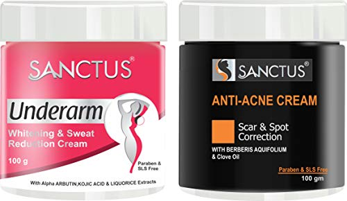 SANCTUS Underarm Whitening, Sweat Reduction Cream and Anti Acne Cream – Scar and Spot Correction Formula for Pollution, Acne, Oil Control (100 gm + 100 gm) Combo Pack