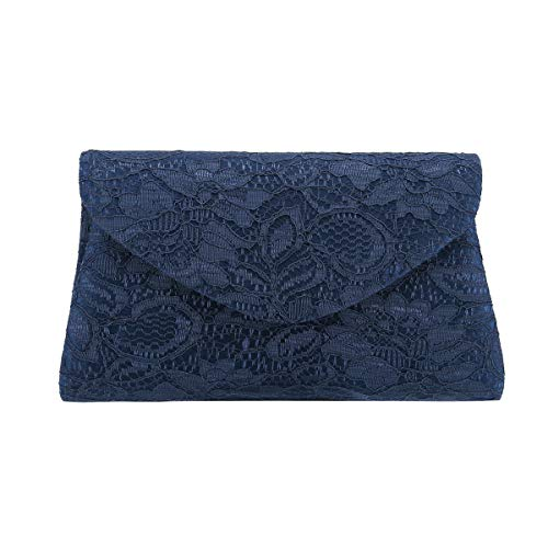 Charming Tailor Classic Lace Clutch Purse Formal Handbag Evening Bag for Prom/Wedding (Navy)