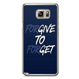Samsung Note 5 Transparent Edge Phone Case Forgive Phone Case Typography Phone Case Quote Note 5 Cover with Transparent Frame