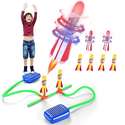Stomp Rocket Duell, Rakete Spielzeug, Druckluftrakete Kinder Outdoor Spiele mit 4 Normal + 2 Leuchtende Schaumstoff Ersatzraketen, Garten Spiel Spielzeug daraußen, Geschenk Junge Mädchen 3-12 Jahre