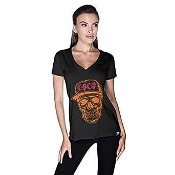 Orange Red Coco Skull T-Shirt For Women - M, Black