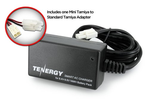 Tenergy Smart Charger for 8.4V-9.6V NiMH Battery Packs w/ Mini Tamiya Connector + Standard Tamiya Adapter (9v Smart Charger Battery)