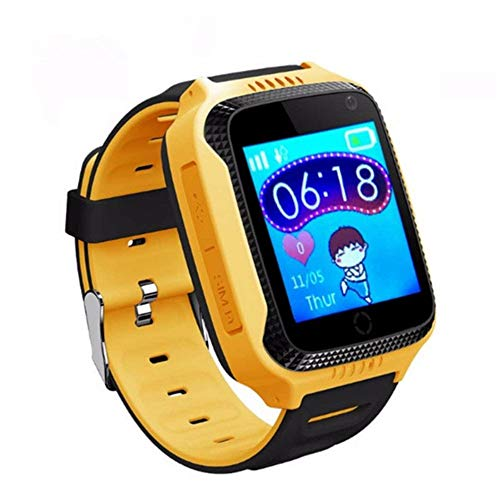 t Watch Kids Camera Baby Smartwatch Phone SOS Call Location Tracker Finder Clock Hour for Kid Safe PK Q90 Y21 Q42,Yellow ()