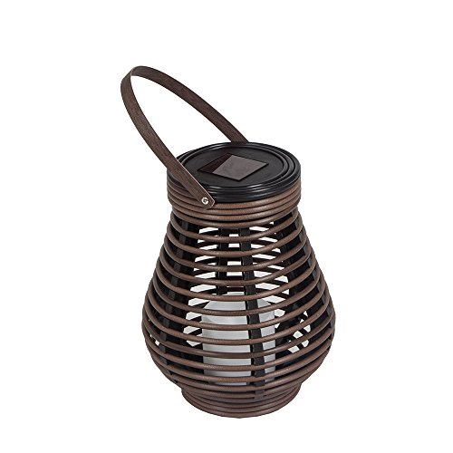 Outdoor Candle Lantern Decorative Rattan Solar Lantern with LED Flameless Candles Hanging Lantern Lamp brown (Toll) (Rattan Table Outdoor Lamp)