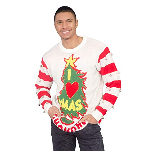 I Love Xmas HOHOHO Light Up (LED) and Bells on Sleeve Ugly Christmas Sweater -