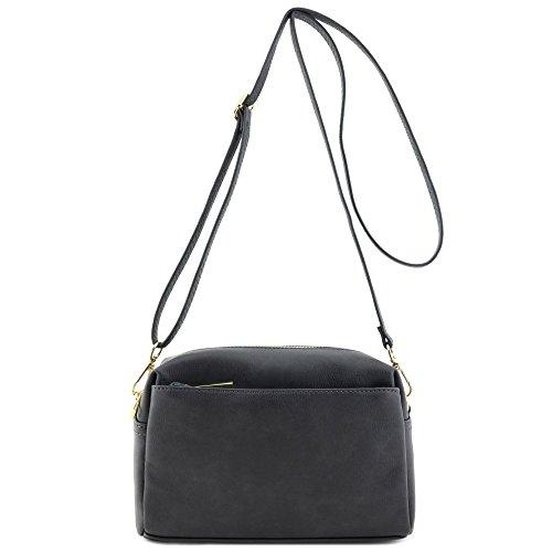 (Triple Zip Small Crossbody Bag (Dark Gray))