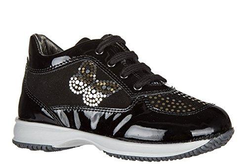Hogan Sneakers Kinder Schuhe Mädchen Leder Turnschuhe interactive Schwarz