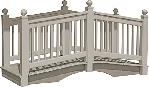 8 Foot Vinyl Outdoor Bridge with Gray Vekadeck Flooring - Clay - Amish Made in USA by Furniture Barn USA