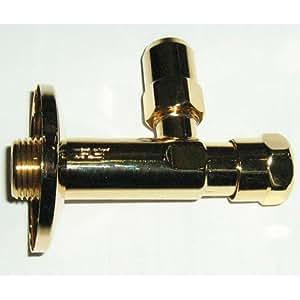 """Válvula angular (para grifos de lavabo, bidé o cocina con válvula de retención, conexiones estándar 1/2"""" y tuerca de compresión ø 10 mm), oro de 24 quilates, brillante"""