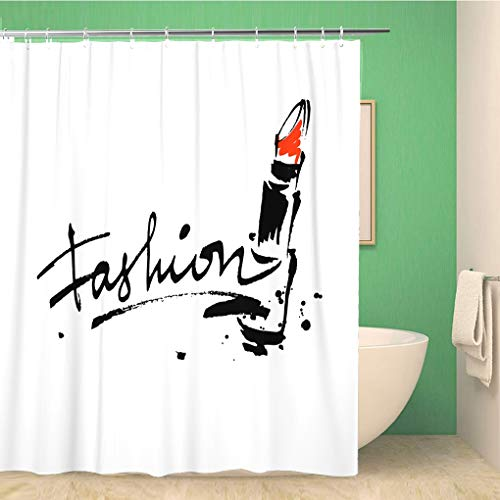 Awowee Bathroom Shower Curtain Red Makeup Lettering Lipstick Brush Stroke Sketch Cosmetic Lip 72x78 inches Waterproof Bath Curtain Set with ()
