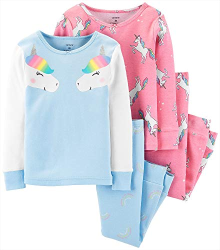 Carter's Toddler and Baby Girls' 4 Piece Cotton Pajama Set, Rainbow Unicorn, 4T