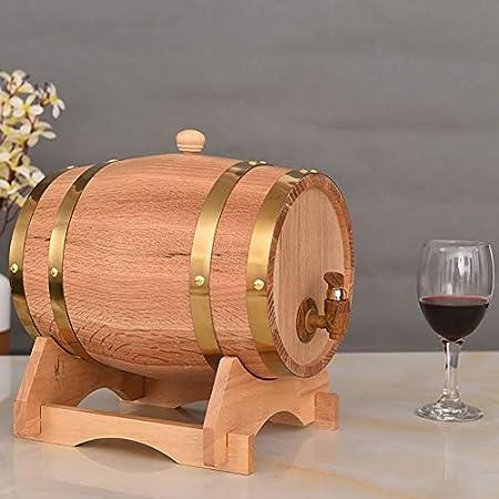 Barril de Roble Dispensador de Barril de Vino Vintage Duradero práctico con Soporte de Madera for Almacenamiento y envejecimiento de Vino y Bebidas Vino, Cerveza, Sidra, Whisky.