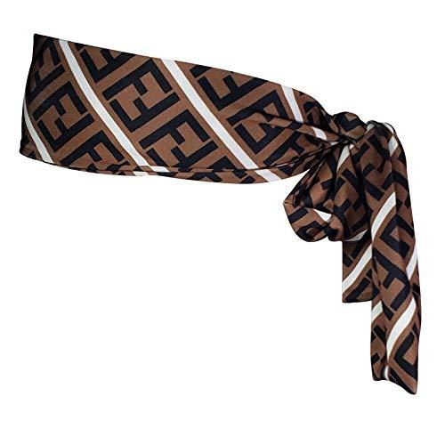 Richagga Apparel Designer Head Tie,Headbands,Women&Men Hair/Head Wrap Scarf Band (Brown F45) (Designer Für Fendi)